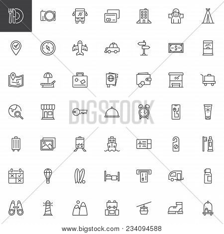 Travel outline icons set. linear style symbols collection, line signs pack. vector graphics. Set includes icons as Restaurant, Camera, Credit card, Hotel, Compass, Plane, Passport, Wallet Ticket stock photo