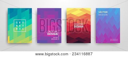 Modern Futuristic Abstract Geometric Covers Set. Minimal Colorful Trendy Templates Design. Cool Grad