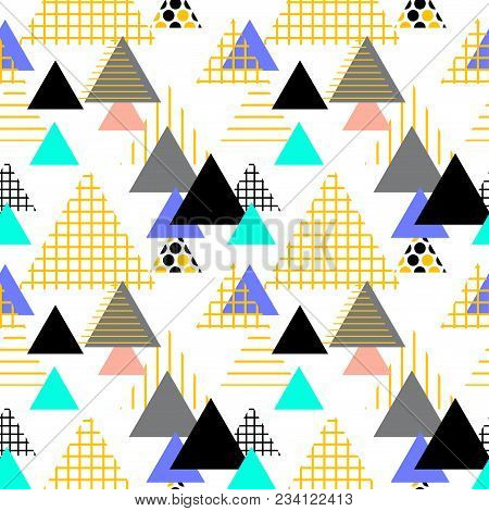 Seamless pattern Geometric elements Memphis Postmodern Retro fashion style 80-90s. texture shapes triangle Yellow gray black blue lilac for site fabric isolated on white background. Vector illustration stock photo