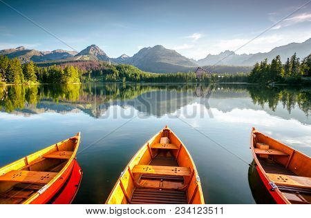 Wonderful mountain lake in National Park High Tatra. Location place Strbske pleso, Slovakia, Europe.