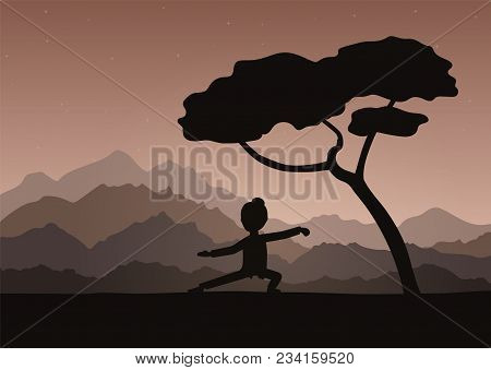 Girl performing qigong or taijiquan exercises in the evening. Woman practicing Tai Chi, qi-gong exercises. Ancient chinese healthcare practice. Flat style. Vector illustration. stock photo