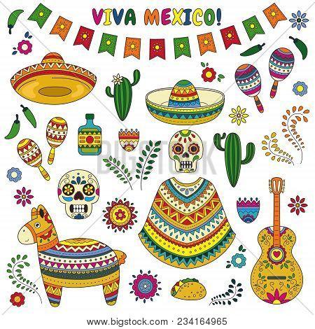 Cartoon doodle collection objects for Cinco de Mayo parade with pinata, maracas, sambrero, tequila, tacos, cactus, skull, flag stock photo