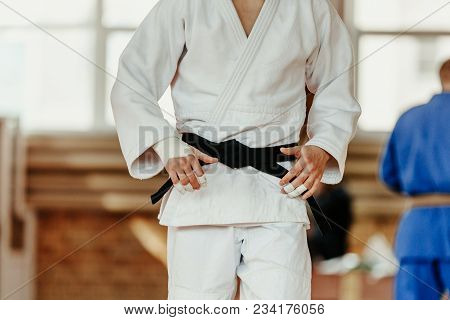 judoka white kimono with black belt competition judo stock photo