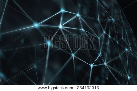 Blockchain network - Abstract connected dots on bright blue background. Internet connection, abstrac