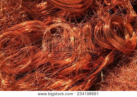 copper wire for scrap piled up, background stock photo