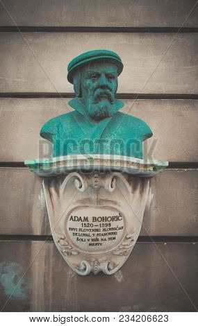 Monumant of Adam Bohoric. Slovenia, Ljubljana. photo depicting a Bust of Adam Bohoric. Europe, Slovenia, Ljubljana city. Old green bronze. stock photo