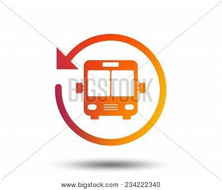 Bus shuttle icon. Public transport stop symbol. Blurred gradient design element. Vivid graphic flat icon. Vector stock photo