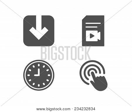 Set of Clock, Load document and Video file icons. Click sign. Time or watch, Download arrowhead, Vlog page. Cursor pointer.  Quality design elements. Classic style. Vector stock photo