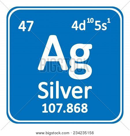 Periodic table element silver icon on white background. Vector illustration. stock photo