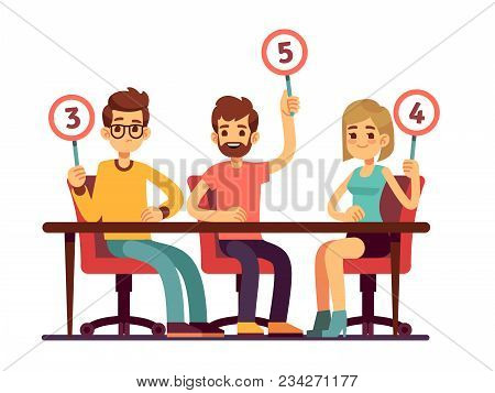 Jury judges holding scorecards. Quiz people show competition vector concept. Jury group committee, holding scorecard with number illustration stock photo