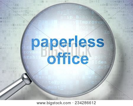 Finance concept: magnifying optical glass with words Paperless Office on digital background, 3D rendering stock photo