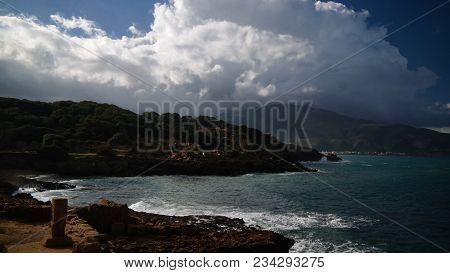 seaview to Roman ruins of Tipasa in Algeria stock photo