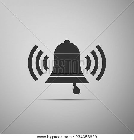 Ringing bell icon isolated on grey background. Alarm symbol, service bell, handbell sign, notification symbol. Flat design. Vector Illustration stock photo