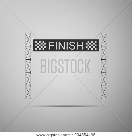 Ribbon in finishing line icon isolated on grey background. Symbol of finish line. Sport symbol or business concept. Flat design. Vector Illustration stock photo