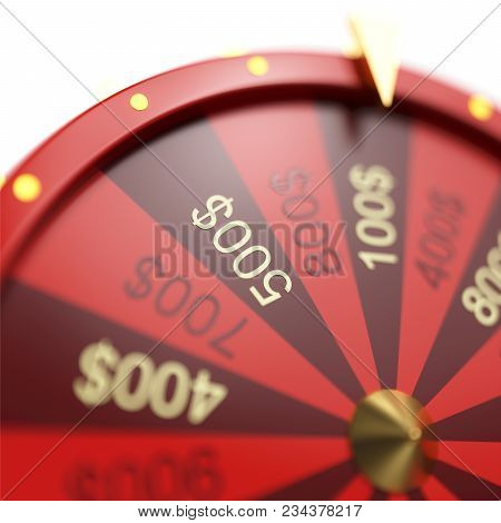 3d illustration red wheel of luck or fortune. Realistic spinning fortune wheel. Wheel fortune isolated on white background stock photo
