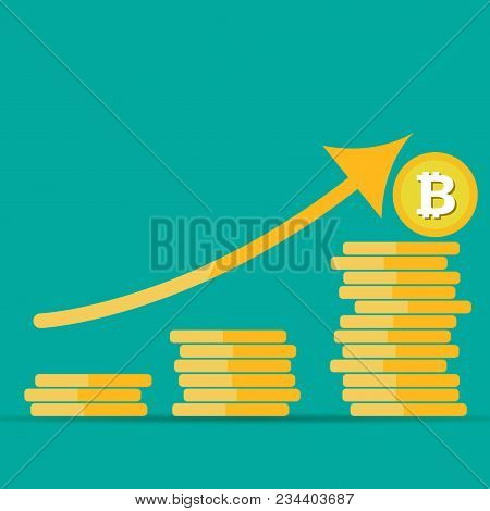 Bitcoin growth concept. Bitcoin revenue illustration. Stacks of gold coins like income graph with bitcoin. Vector illustration isolated on colored background stock photo