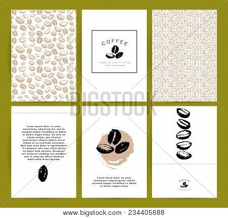Vector collection of artistic cards with coffee emblems & logo, hand drawn coffee beans & seeds, textures & patterns. Coffee company shop insignia design. stock photo
