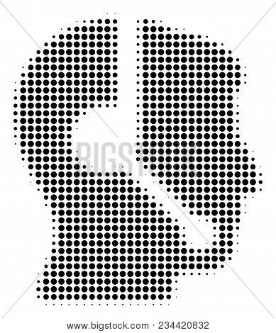 Call Center Operator halftone vector icon. Illustration style is dotted iconic Call Center Operator icon symbol on a white background. Halftone matrix is circle spots. stock photo