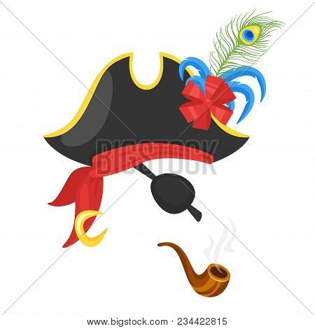 Vector cartoon style funny pirate face element or carnival mask. Decoration item for your selfie photo and video chat filter. Hat, smoking pipe and golden earring. Isolated on white background. stock photo