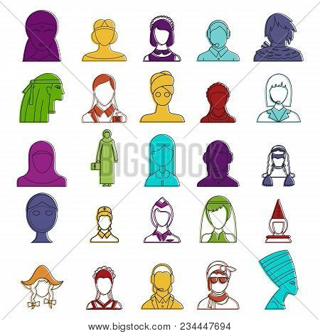 Woman avatar icon set. Color outline set of woman avatar vector icons for web design isolated on white background stock photo