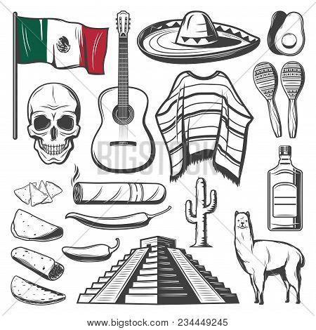 Cinco De Mayo Sketch Set Of Mexican Holiday Festive Symbols Latin