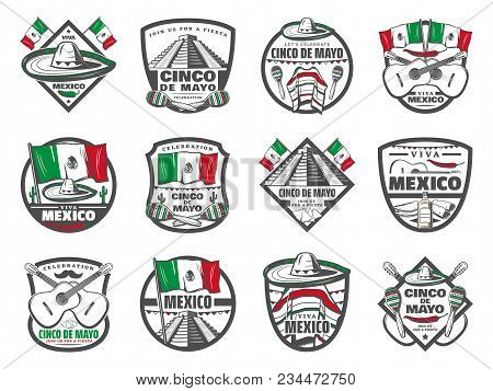 Cinco de mayo icons for mexican holiday celebration and greeting 5 m4hsunfo