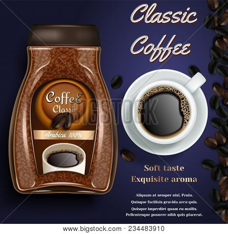 Instant coffee ad. Vector realistic background with instant coffee jar, cup of coffee and copy space. Coffee branding, poster, flyer design template. stock photo