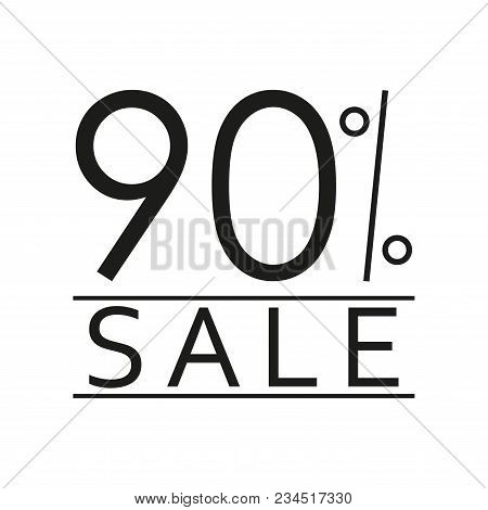 90% sale. Price off icon with 90 percent discount. Vector illustration. stock photo