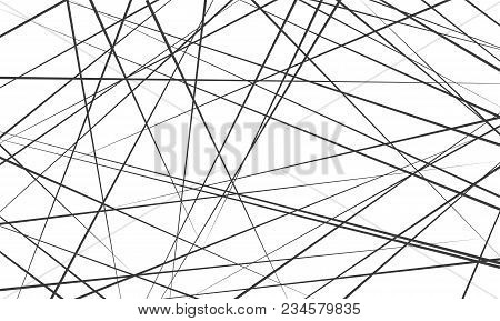 Chaotic abstract lines abstract geometric pattern background. Vector black diagonal crossed lines for modern contemporary art backdrop white design template stock photo
