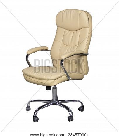 White leather office chair on a white background stock photo