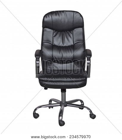 Black leather office chair on a white background stock photo