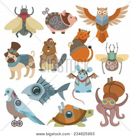 Animals steampunk vector animalistic characters in steam punk and industrial style illustration set of abstract cat or dog with mechanism and mechanical antique turtle isolated on white background. stock photo