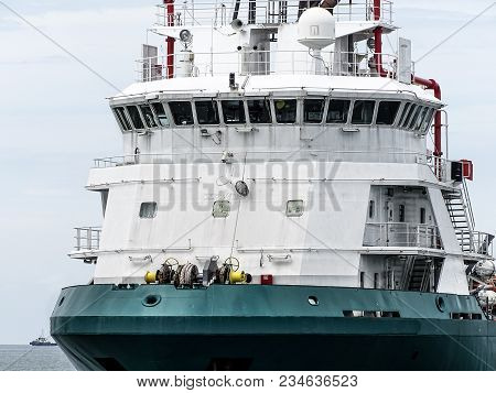 Navigation bridge on platform supply vessel (PSV) offshore support vessel,ready to the offshore oil production fields. stock photo