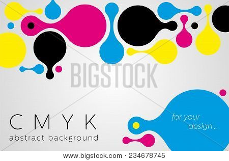 Abstract metaball background from CMYK colors on gray background with place for text - print concept. Vector illustration. stock photo