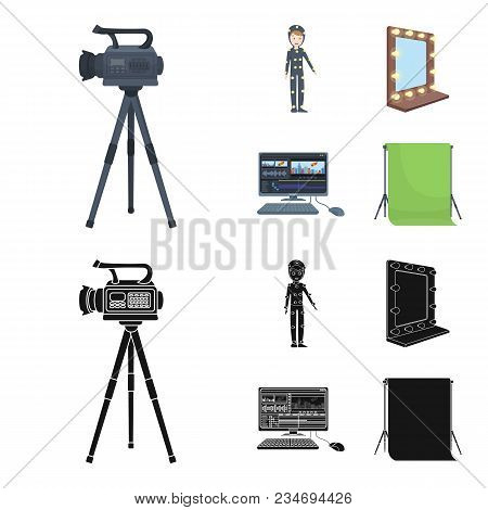 A movie camera, a suit for special effects and other equipment. Making movies set collection icons in cartoon, black style vector symbol stock illustration . stock photo