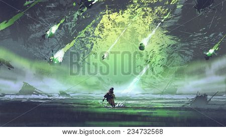 man running from meteorite or debris rocks with fire falling into the sea, digital art style, illustration painting stock photo