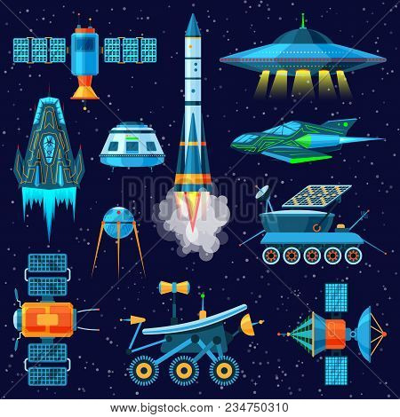 Rocket vector spaceship or spacecraft and satellite or lunar-rover illustration set of spaced ship in universe space isolated on background. stock photo