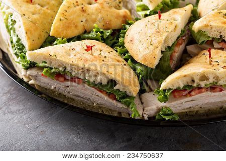 Tray of turkey sandwiches ready to be delivered stock photo