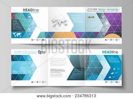 Set of business templates for tri fold brochures. Square design. Leaflet cover, abstract flat layout, easy editable vector. Bright color pattern, colorful design with overlapping shapes forming abstract beautiful background. stock photo