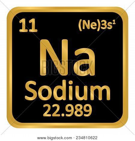Periodic Table Element Sodium Icon On White Background Vector