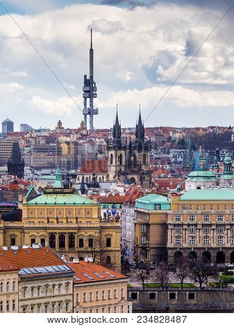 Cityscape of Prague with the Zizkov TV tower on the top. stock photo