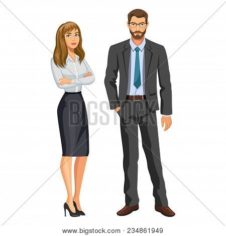Man in business suit with glasses and beard and elegant blonde girl. Businessman and secretary or assistant. Stock vector, eps 10 stock photo