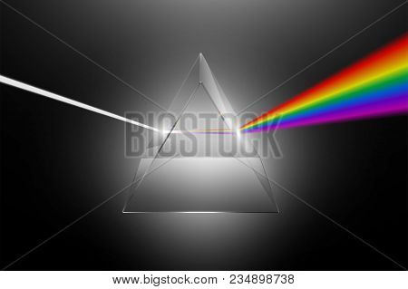 Visible light dispersion to a spectrum on a glass prism, realistic physical effect vector illustration stock photo