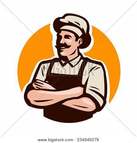 Chef or baker logo. Cafe, restaurant, menu concept. Cartoon vector illustration stock photo