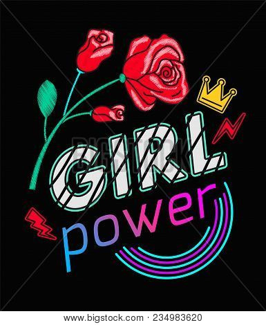 Girls Power Slogan Print Embroidery T-shirt. Feminist slogan, Rock print. Fashionable slogan with roses. Girl Gang patches, badges T-shirt apparels print tee graphic design. Vector Illustration. stock photo