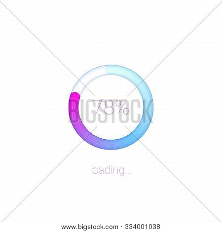 Modern 3D web preloader of updates. Progress bar with percentage of upgrades or downloads. Concept of mobile apps for data loading on light background with radial diagram stock photo