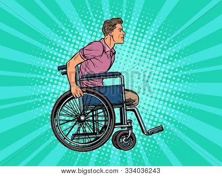 legless man disabled veteran in a wheelchair. pop art retro vector illustration kitsch vintage drawing 50s 60s stock photo