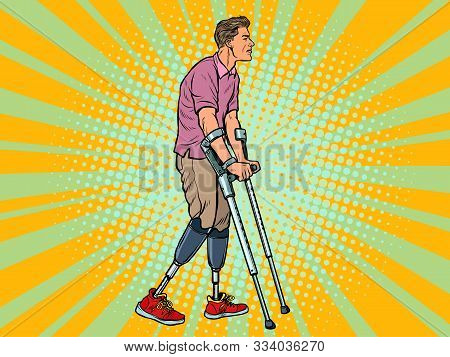 legless veteran with a bionic prosthesis with crutches. a disabled man learns to walk after an injury. rehabilitation treatment and recovery. pop art retro vector illustration kitsch vintage drawing 50s 60s stock photo