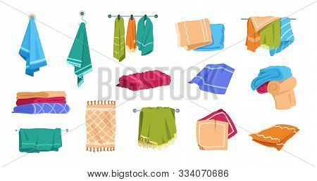 Cartoon towels. Bath rolled fabric, kitchen hand textile cloth and washcloth for dishes, family cotton towels pile. Vector set illustration hotel fresh fluffy stacked towels stock photo
