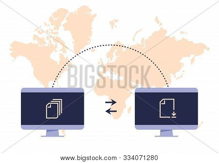 File transfer concept. Two computers transferred documents, exchangers files technology concepts. Sharing file vector graphic flat illustration digital system, receiving and transference data stock photo